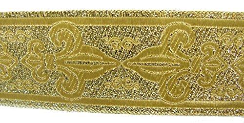 10m Brokat Borte Webband 50mm breit Farbe: Lurex-Gold von 1A-Kurzwaren 50063-go