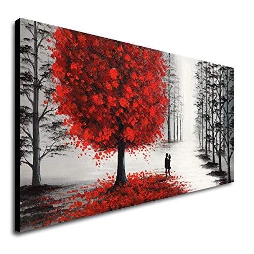 Handmade Oil Painting Black and White Large Landscape Canvas Wall Art with Red Tree for Living Room