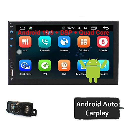 Eincar Double Din Car Stereo Android Auto 7 Inch Touch Screen Car radios Carplay with Backup Camera in Dash Android 10 Head Unit GPS Navigation AM FM Radio Recevier Support DSP Bluetooth WiFi USB