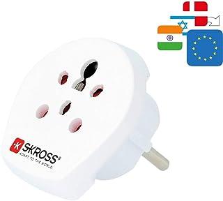 SKROSS 39770 Country Adapter India Israel Denmark to Europe, geaarde stekker (type F, CEE 7/7), wit - geschikt voor alle geaarde en niet-geaarde apparaten (2 en 3-polig)