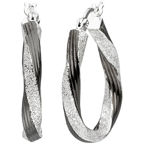 JOBO Creolen gedreht oval 925 Sterling Silber schwarz bicolor Ohrringe