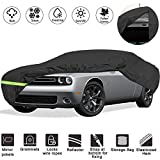 """YIDEXIN Waterproof Car Covers for 2008-2019 Dodge Challenger Car Cover 210D Covers (R/T, SRT, T/A, SXT, Hellcat) Customer Fit 100% Waterproof Windproof Strap & Double Door Zipper Up to 202"""" L"""
