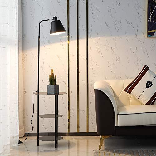 FWZJ Lámpara de pie con estantes, Lámparas de pie para Sala de Estar Trípode Moderno, Estante de Hierro de 3 Capas Luz de pie Iluminación de tareas para Dormitorio Sala de Lectura Piano (Color: D