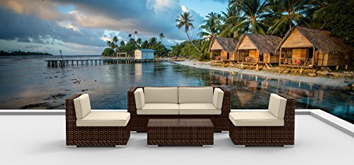 Urban Furnishing.net - Brown Series 5a Modern Outdoor Backyard Wicker Rattan Patio Furniture Sofa Sectional Couch Set