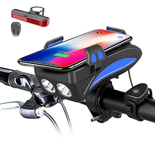 Wasserdichter Fahrrad licht & und Fahrrad handyhalterung,eingebautes 3000/6000mAh Mobilnetzteil und 50/70/90/120/150DB fahrradklingel, geeignet für 3,9-6,8 in Handygröße,Schwarz,6000mAh
