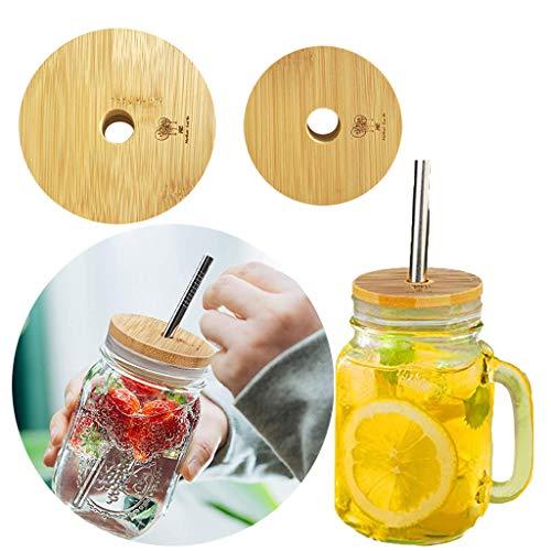 Bamboo Canning Lids with Straw hole,Regular Mouth Mason Jar Lids,Reusable Bamboo Lids Mason Jar Tops Tumbler Lids,Secure Mason Storage Bottle Caps (70/86mm-2Pc Lids)