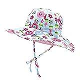 Toddler Baby Floppy Sun Hats 6-12 Months Reversible Kids Adjustable Elastic Outdoor Beach Summer Bucket Cap with uv Protection Wide Brim