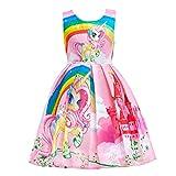 Lito Angels Niñas Vestidos de Unicornio Arcoiris Disfraces Fiesta de Halloween Informal Vestirse Talla 2-3 años Rosa C