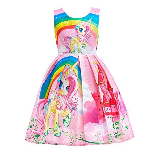 Lito Angels Niñas Vestidos de Unicornio Arcoiris Disfraces Fiesta de Halloween Informal Vestirse Talla 4-5 años Rosa C