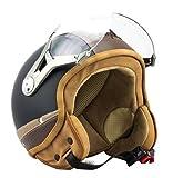 SOXON SP-325-URBAN Casque Jet Mofa Demi-Jet Cruiser Bobber Biker Retro Chopper Vintage Helmet Vespa Scooter Moto Pilot - Noir/Marron - M (57-58cm)