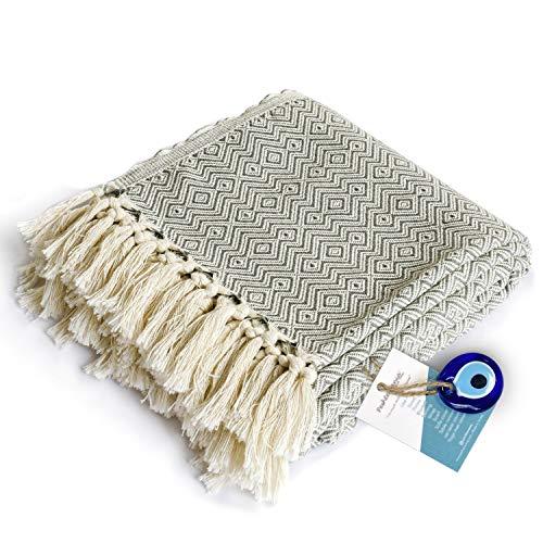 Manta de lujo con flecos, 100% algodón, suave y ligera, 101,6 x 180,3 cm, para silla, sofá, cama, decoración bohemia, casa de granja, rústica, acogedora, mantas de punto para...