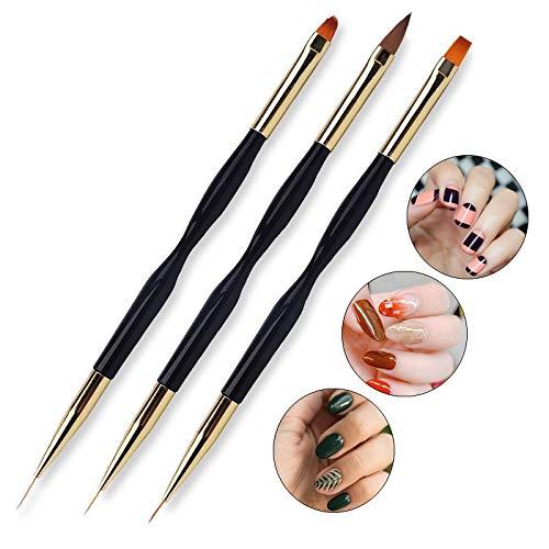 FULINJOY 3 Pcs Nail Drawing Pen, Dual End Nail Art Pen Brush Acrylic Round Flat Painting Drawing Liner Nail Tools