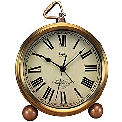 Maxspace Metal Golden Desk Clock, Retro Vintage Non-Ticking Table Small Alarm Clock Battery Operated Silent Quartz Movement HD Glass for Bedroom Living Room Indoor Decoration Kids (Roman)