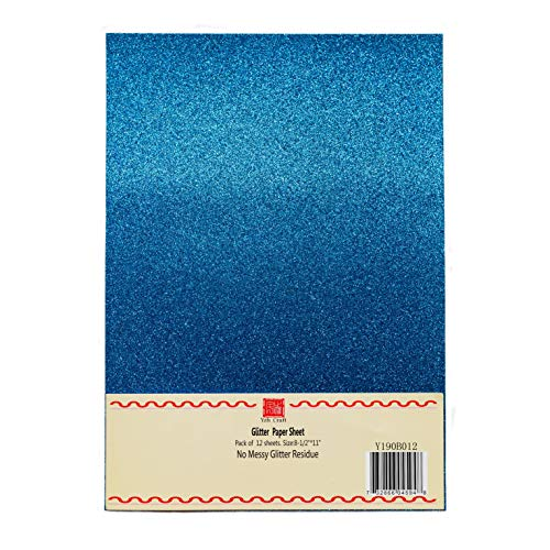 YZH Crafts Glitter Cardstock Paper,No-Shed Shimmer Glitter Paper,10 Sheets, 8 Inch X 12 Inch, A4 Size (Royal Blue)