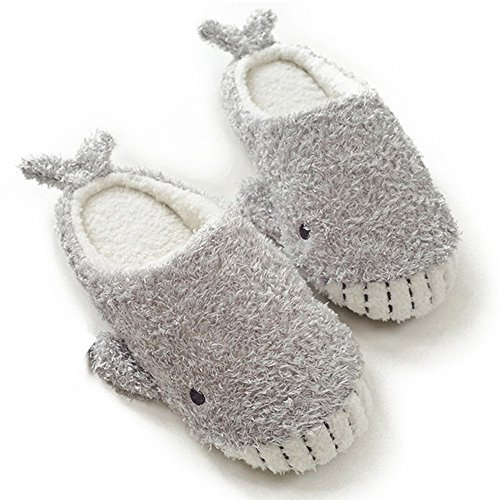 HALLUCI Women's Cozy Fleece Memory Foam House Trick Treat Halloween Slippers (7-8 M US, Wicky Shark)