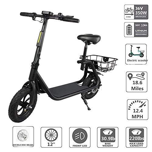 TIANQING Elektrische 2-wieler balance auto, 350 watt, draagbare mini-elektrische fiets voor volwassenen, drie snelheden, instelbaar (36 V 10,2AH lithium batterij)