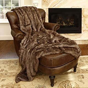 Best Home Fashion Coyote-Faux Fur Throw Blanket