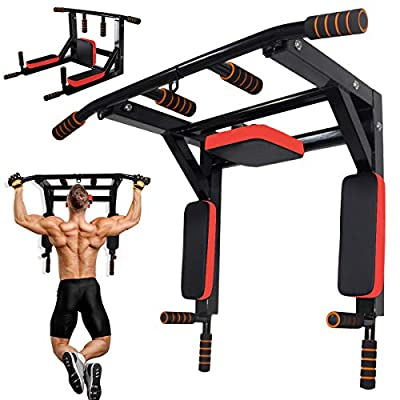 Multifunctional Wall Mounted Pull Up Bar Chin Up Bar, Dip Station Pull Up Bar for Home Gym Workout, Power Tower Exercise Strength Training Equipment Fitness Dip Stand Supports to 440 Lbs
