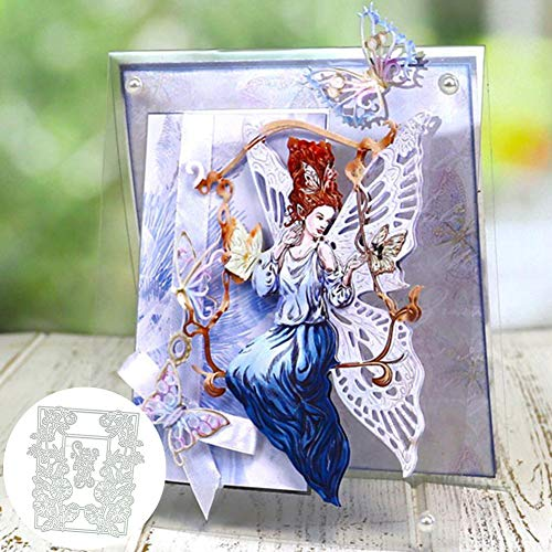 Flower Letters Frame Card Background Cutting Die Scrapbooking Album Decoration - Silver