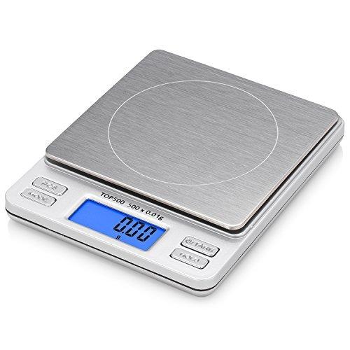 Smart Weigh TOP500 - Bilancino digitale con display LCD retroilluminato, funzione Hold/PCS, portata 500 x 0,01 g