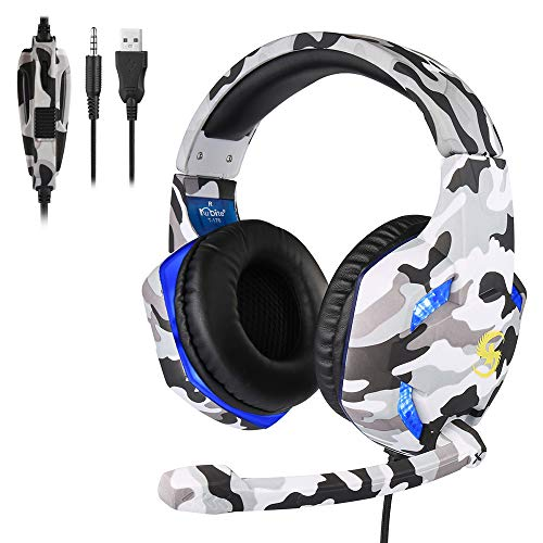 New Loijon T176 Gaming Headset 3.5mm+USB Plug Over-Ear Headphone with Adjustable Microphone Volume C...