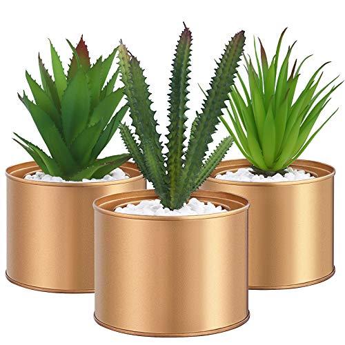 SONGMICS Künstliche Pflanzen im Topf, 3 Stück Kunstpflanzen, unechte Zimmerpflanzen, Dekopflanzen fürs Wohnzimmer, Büro, Bücherregal, Tischdeko, goldene Töpfe, grün LAP204A01