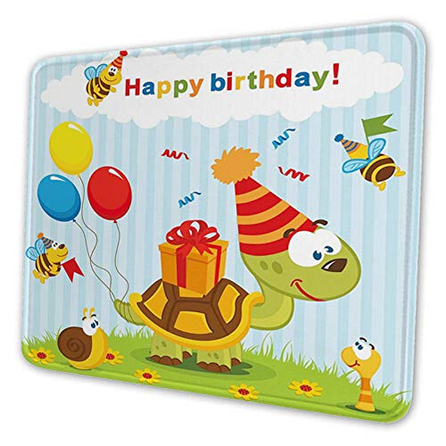 Cartoon Turtle with Birthday Cone Fun Celebration Hat Baloon Rectangle Mouse Pad Non-Slip Rectangular Mouse Pads Size 10 x 12 Inch