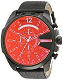Diesel Men's Mega Chief Quartz Leather Chronograph Watch, Color: Black/Iridescent (Model: DZ4323)