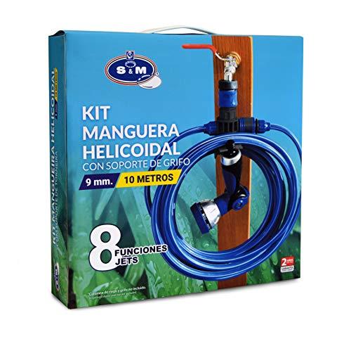S&M 548635 Kit helicoidal EVA de 10 m con Pistola con 8 Funciones de riego + Soporte Conector de Manguera y rácor, Azul