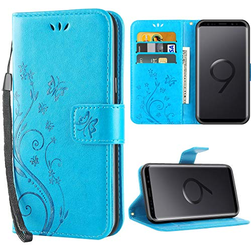 iDoer Hülle Kompatibel Mit Samsung Galaxy S9 Schmetterling Leder Case Schutzhülle Blau