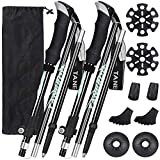 Esup Trekking Poles Collapsible Aluminum Alloy 7075 Hiking Poles 2pc Pack Adjustable Quick Lock for Hiking, Camping, Outdoor (Black)