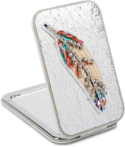 styleBREAKER Miroir de poche rectangulaire avec une plume brodée de strass, des perles et une chaîne, grossissant 1x / 3x, miroir compact de poche, pliant, 2 faces 05070007, couleur:Argent métallique