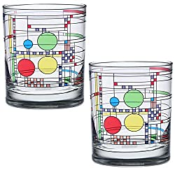Frank Lloyd Wright DOF Double Old Fashioned Glass 14-Ounce (Gift Boxed Set of 2, Coonley Playhouse)