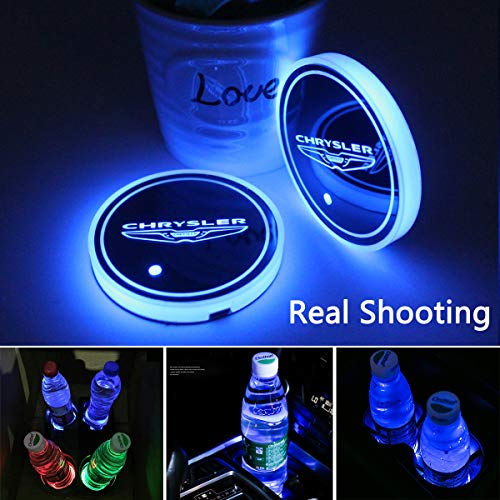 2pcs LED Car Cup Holder Lights for Chrysler, 7 Colors Changing USB Charging Mat Luminescent Cup Pad, LED Interior Atmosphere Lamp