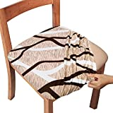 Gute Chair Seat Covers, Dining Room Chair Seat Covers with Ties, Stretch Printed Chair Covers Protectors for Dining Room Kitchen Chairs (Set of 6, Apricot Stripe)