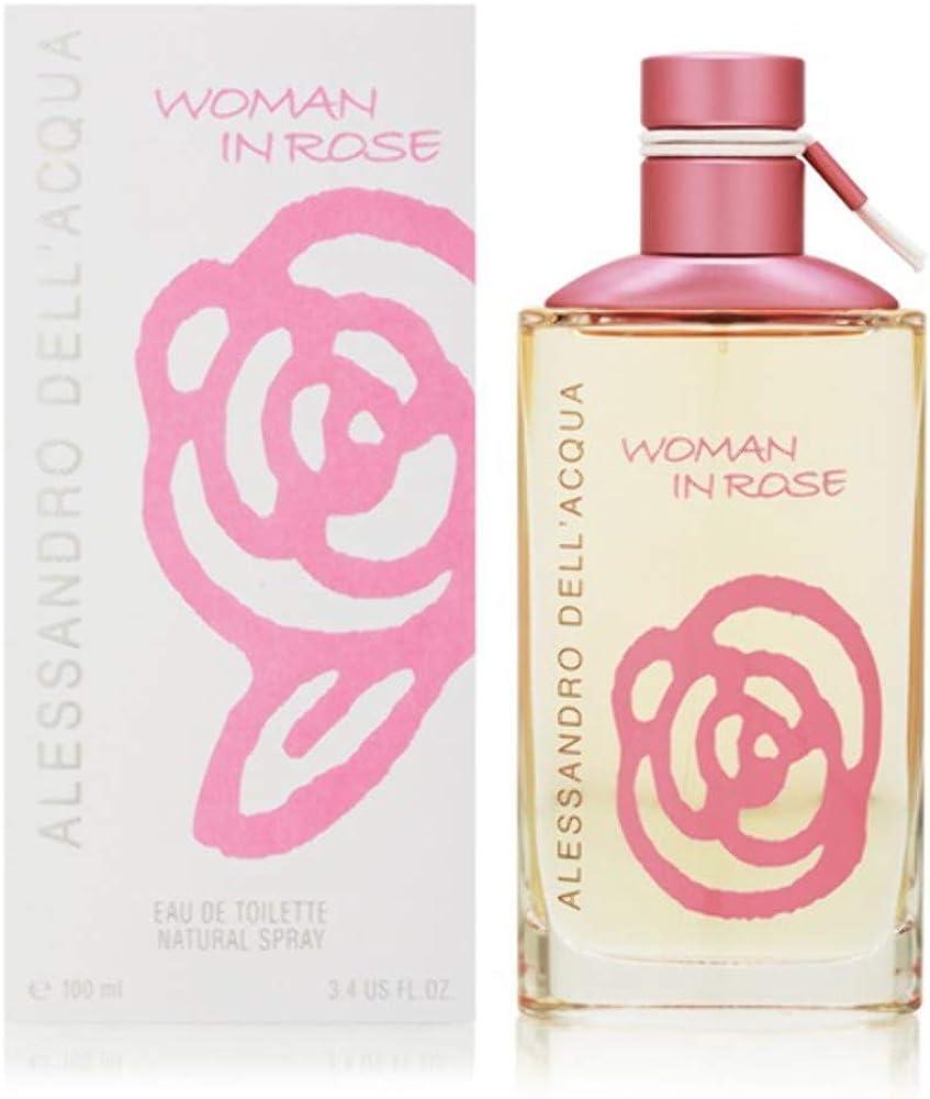 alessandro dell acqua, woman in rose, eau de toilette,profumo per donna, 100ml spray 8011003101320