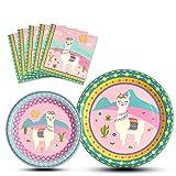 WERNNSAI Suministros de Fiesta de Llama - Platos y Servilletas de Desechables Vajilla Cumpleaños Cena Postre para Niñas Niños 16 Huéspedes