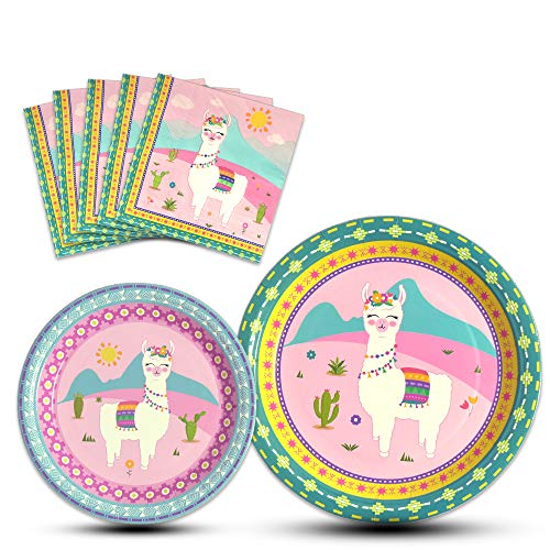WERNNSAI Llama Party Supplies - Disposable Alpaca Themed Tableware Set for Girls Kids Birthday Dinner Dessert Plates and Napkins Serves 16 Guests 48PCS