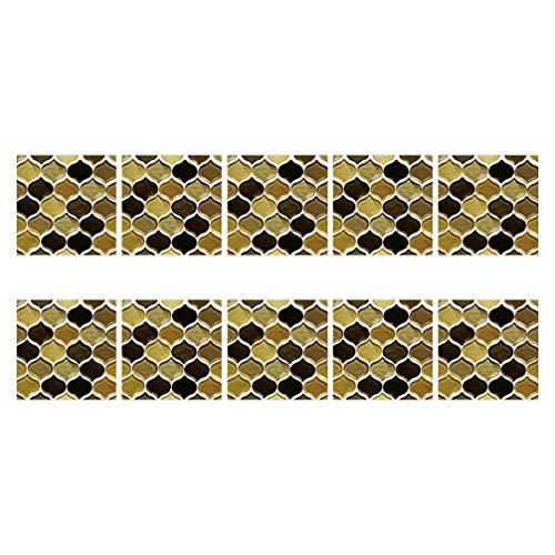 VOSAREA 10 Hojas de Farol 3D Pegatina de Pared Mosaico Azulejos de Cocina Ladrillos Decoración de Vinilo Hogar Autoadhesivo Papel Pintado DIY Pegatinas de Pared Manualidades