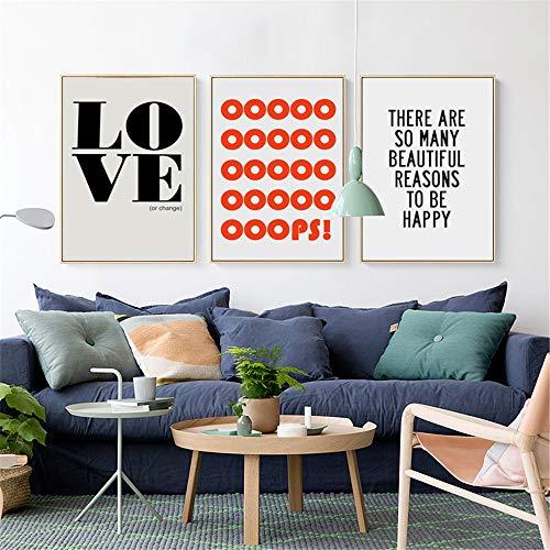 Elegante Poesía Amor Inicio Frase en inglés Proverbios Inspiración Lienzo Pintura Art Print Poster Picture Decoración del hogar Decoración de la pared 3 piezas 40x60cm sin marco