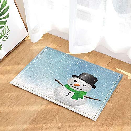 Kerstdecoratie sneeuwman met zwarte hoed en groene sjaal Kinderbadkamer tapijt toiletdeur mat woonkamer 40X60CM badkameraccessoires