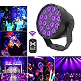 LED Par Can Light Rilitor 18LED UV Stage Light Ultraviolet Black Light 7 Lighting Modes Control Sound Activated Disco Lights & Remote Control for Party Bar Club DJ Dsico KTV Wedding Pub Church Show