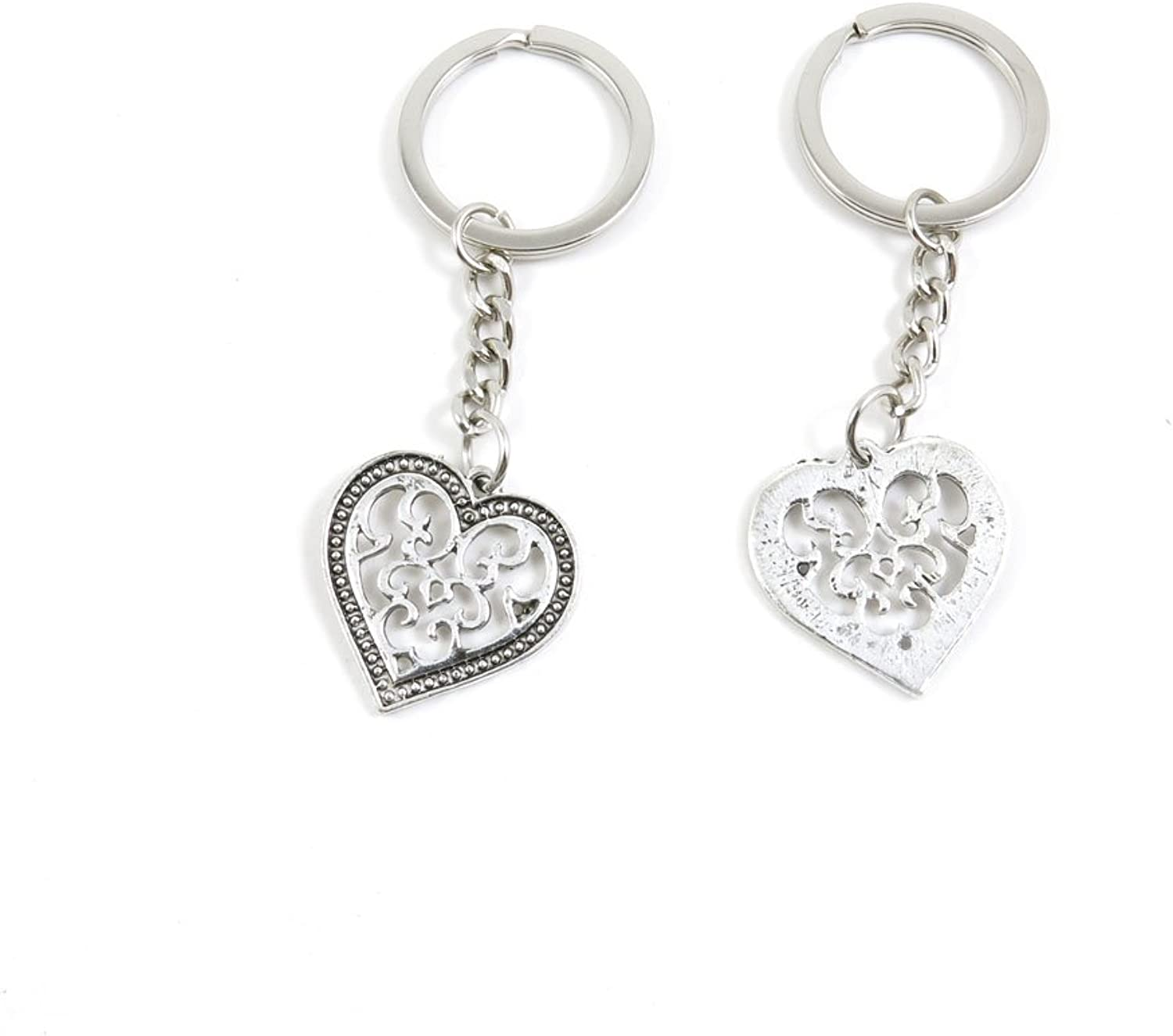 100 Pieces Keychain Keyring Door Car Key Chain Ring Tag Charms Bulk Supply Jewelry Making Clasp Findings Y4KY2T Heart