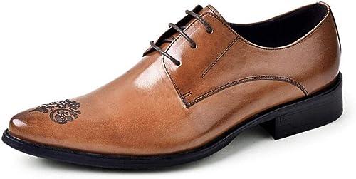 Zapatos de Vestir para hombres zapatos de Negocios de Cuero en Punta Tallados zapatos de Hombre de Gran tamaño