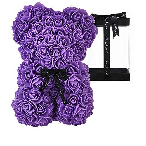 AZXU Oso Rosa - Oso de Peluche Rosa en Cada Oso Rosa - Oso de Flores Aniversario, Oso Rosa, Madres, Oso de Peluche Rosa. - ¡Caja de Regalo Transparente incluida! 10 Pulgadas (Purple)