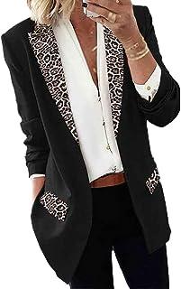 GuoCu Women Casual Blazer,Fashion Leopard Print Long Sleeve Suit Jacket Open Front Work Office Blazer with Pockets,Elegant...