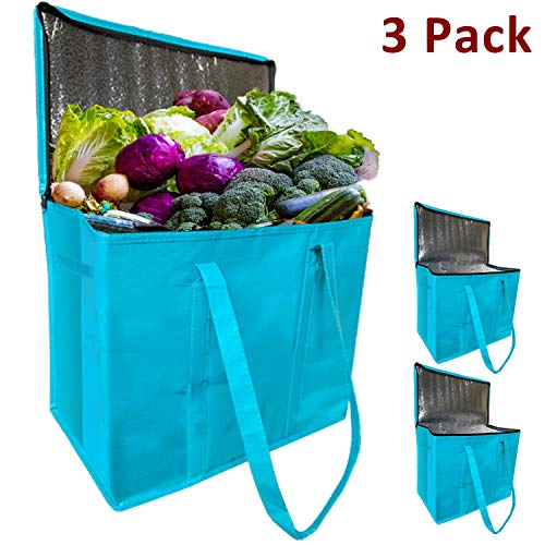JALOUSIE 3 Pack XL Insulated Reusable Grocery Shopping Bags - Extra Large Water-resistant Surface...