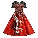 Moda de mujer de manga corta de encaje suelto de Navidad de cintura alta para bodas, vacaciones, fiestas, costuras, falda larga 6, Vino, S