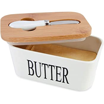 SZUAH Porcelain Butter Dish with Butter Knife(500ml), Large Butter Keeper Container with Natural Bamboo Lid & Seal Ring.
