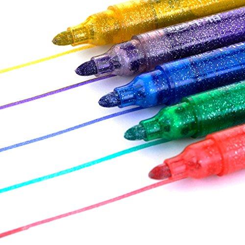 SAYEEC 5 rotuladores brillantes con purpurina para colorear, rotuladores para hacer tarjetas de bricolaje, dibujar, colorear, álbum de fotos, regalo de cumpleaños, tarjeta de agradecimiento